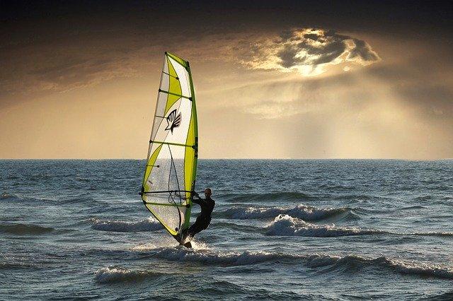 windsurfing, sea, clouds