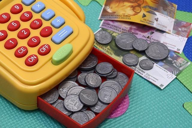toy cash register, play, money