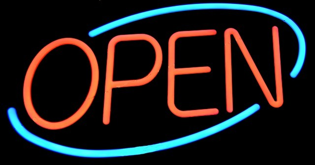 open sign, sign, signage